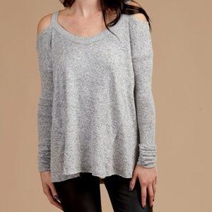 Altar'd State Gray Cold Shoulder Orem Sweater Top